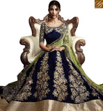 FROM THE HOUSE OF STYLISH BAZAAR ELEGANT NAVY BLUE VELVET LEHENGA SAREE CONTAIN EMBROIDERED KALI WORK WITH GREEN NET DUPATTA NKNET5070
