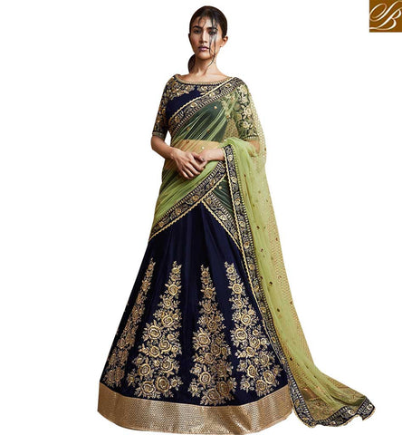 STYLISH BAZAAR ELEGANT NAVY BLUE VELVET LEHENGA SAREE CONTAIN EMBROIDERED KALI WORK WITH GREEN NET DUPATTA NKNET5070