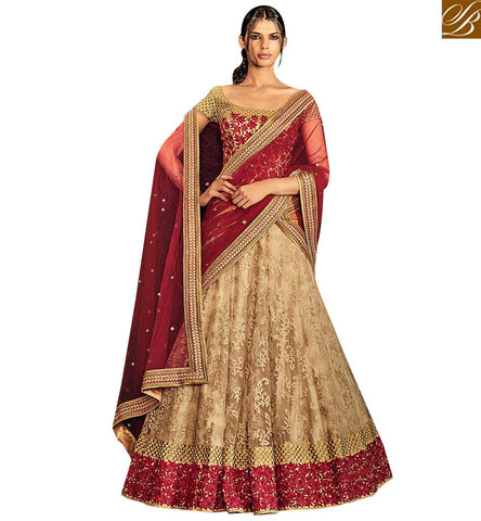 STYLISH BAZAAR APPEALING BEIGE NET HAVING SUPERB EMBROIDERED LEHENGA SAREE WITH LOVELY WORK BLOUSE NKNET5071