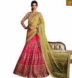 STYLISH BAZAAR INVITING PINK AND BEIGE SILK DESIGNER LEHENGA SAREE HAVING GORGEOUS EMBROIDERY WITH YELLOW NET PALLU NKNET5072
