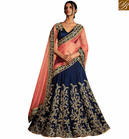 STYLISH BAZAAR RESPLENDENT NAVY BLUE SILK CONTAINING HEAVY KALI EMBROIDERY LEHENGA SAREE WITH PEACH NET PALLU NKNET5073