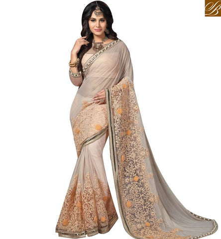 STYLISH BAZAAR BOLLYWOOD ACTRESS AMYRA DASTUR CREAM KNITTED GEORGETTE PARTY WEAR SAREE MHAM4203