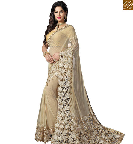 STYLISH BAZAAR SHOP ELEGANT CREAM NET AMYRA DASTUR PARTY WEAR HAVING ENCHANTING BORDER WORK SAREE MHAM4205