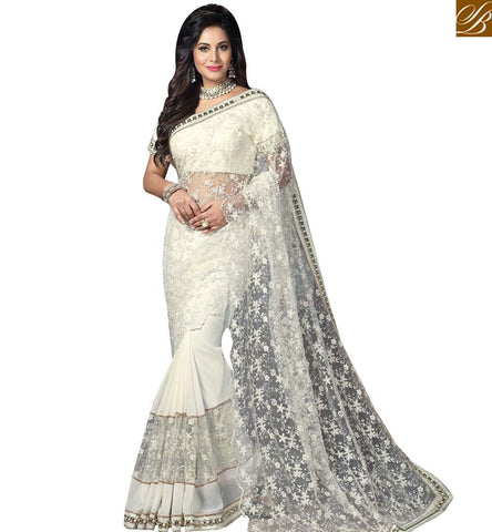 STYLISH BAZAAR BOLLYWOOD CELEBRITY AMYRA DASTUR OFF WHITE NET AND GEORGETTE WELL DESIGNED SAREE MHAM4207