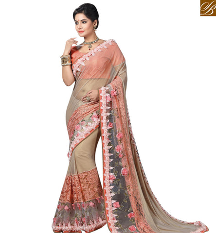 STYLISH BAZAAR ATTRACTIVE BEIGE NET HAVING ROSE EMBROIDERY BORDER WORK AMYRA DASTUR PARTY WEAR SAREE MHAM4208