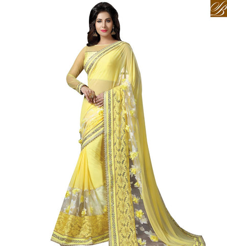 STYLISH BAZAAR DAZZLING YELLOW NET AND TISSUE HAVING WELL EMBROIDERY AMYRA DASTUR PARTY WEAR SAREE MHAM4209