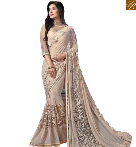 STYLISH BAZAAR SIZZLING CREAM NET AND KNITTED GEORGETTE PARTY WEAR EMBROIDERED AMYRA DASTUR SAREE MHAM4210