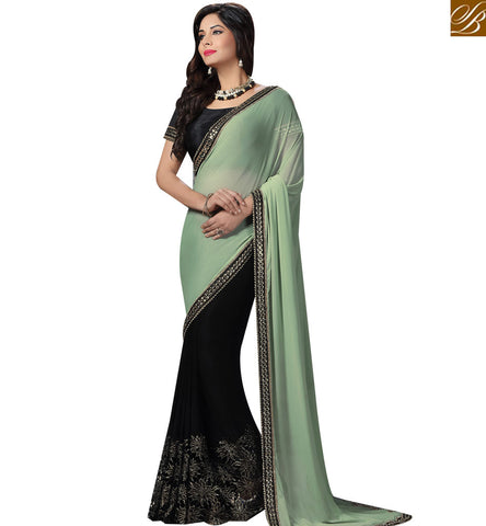 STYLISH BAZAAR AMAZING GREEN AND BLACK KNITTED GEORGETTE HALF N HALF PARTY WEAR AMYRA DASTUR SAREE MHAM4211