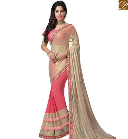 STYLISH BAZAAR BEWITCHING CREAM AND PINK GEORGETTE HALF N HALF DESIGNER AMYRA DASTUR PARTY WEAR SAREE MHAM4212