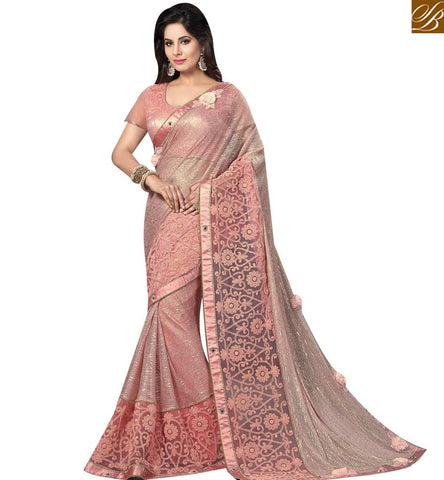 STYLISH BAZAAR INVITING ROSE PINK NET DESIGNER PARTY WEAR AMYRA DASTUR SAREE HAVING LOVELY BORDER AND ROSE WORK MHAM4214
