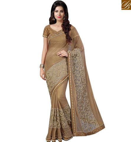 STYLISH BAZAAR SIGNIFICANT ANTIQUE BROWN NET HAVING WELL EMBROIDERED BORDER AMYRA DASTUR PARTY WEAR SAREE MHAM4215