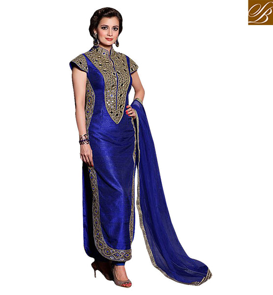 STYLISH BAZAAR INTRODUCES BOLLYWOOD STARLET DIYA MIRZA IN ROYAL STRAIGHT CUT SALWAAR KAMEEZ DESIGN MHDM214BL