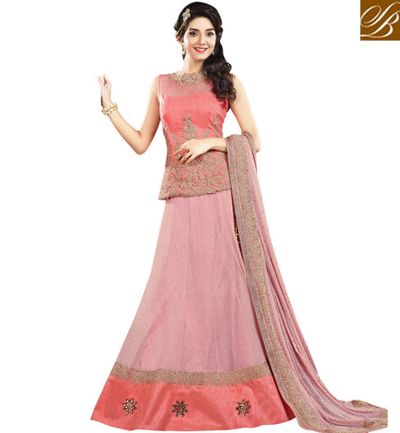 STYLISH BAZAAR BEAUTIFUL PINK GEORGETTE PARTY WEAR DESIGNER LEHENGA CHOLI MHMMY7002
