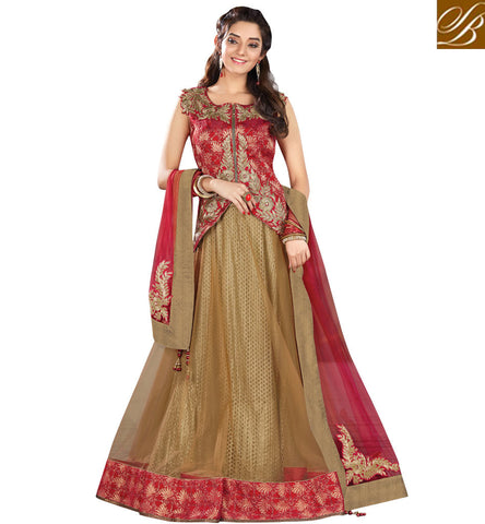 STYLISH BAZAAR DAZZLING BROWN NET AND RED SILK EMBROIDERED PARTY WEAR LEHENGA CHOLI MHMMY7003