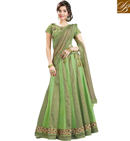 STYLISH BAZAAR GREEN JACQUARD AND SILK DESIGNER PARTY WEAR HAVING PLEASANT LOOK LEHENGA CHOLI MHMMY7004