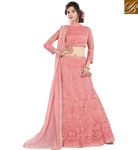 STYLISH BAZAAR SHOP ROYAL PINK NET DESIGNER DISPLAYING BOUNTIFUL EMBROIDERY LEHENGA CHOLI MHMMY7005