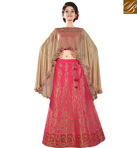 STYLISH BAZAAR STYLISH CRIMSON RED JACQUARD HAVING PHILANTHROPIC GLANCE PARTY WEAR LEHENGA CHOLI MHMMY7006