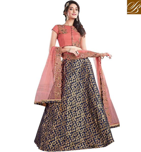 STYLISH BAZAAR STUNNING BLUE & PEACH JACQUARD SILK DECORATED WITH MODERN STYLE PARTY WEAR LEHENGA CHOLI MHMMY7007