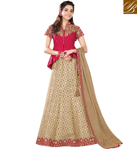 STYLISH BAZAAR APPEALING CREAM AND RED SILK SHOWING BEAUTIFUL COMBINATION PARTY WEAR LEHENGA CHOLI MHMMY7008