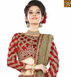 FROM STYLISH BAZAAR SURPRISING CREAM AND RED RAW SILK HAVING MOTI AND DIAMOND WORK WITH PARTY WEAR LEHENGA CHOLI MHMMY7010