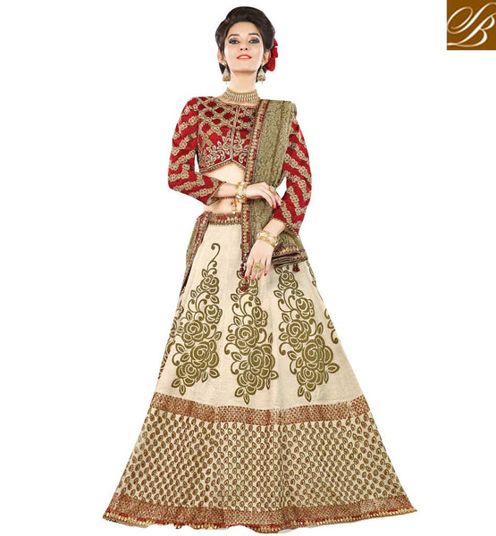 STYLISH BAZAAR SURPRISING CREAM AND RED RAW SILK HAVING MOTI AND DIAMOND WORK WITH PARTY WEAR LEHENGA CHOLI MHMMY7010