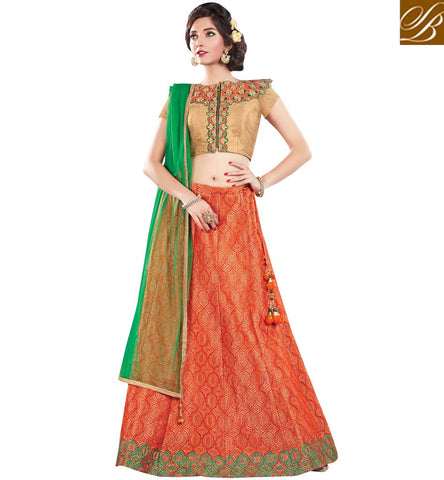 STYLISH BAZAAR ORANGE AND BEIGE COLOUR HAVING BEAUTIFUL COMBINATION WITH GREEN NET DUPATTA MHMMY7011