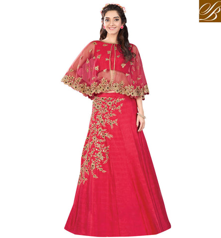 STYLISH BAZAAR SIGNIFICANT RED RAW SILK HAVING BOUNTIFUL LOOK WITH PARTY WEAR EMBROIDERED LEHENGA CHOLI MHMMY7012