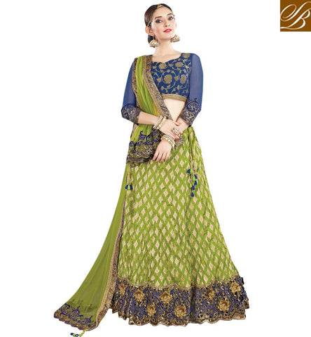 STYLISH BAZAAR WONDERFUL GREEN CRUSHED SILK HAVING PLEASANT LACE BORDER PARTY WEAR LEHENGA CHOLI MHMMY7013