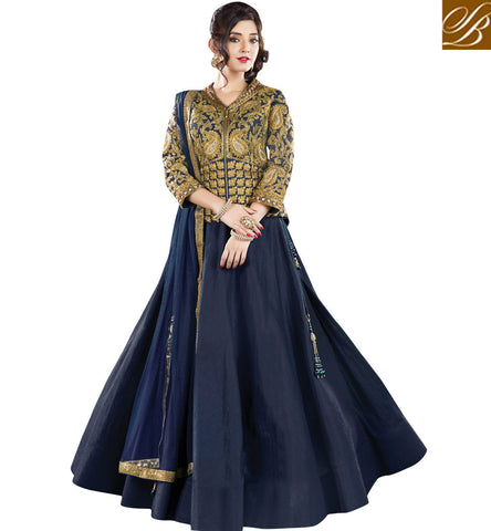 STYLISH BAZAAR INVITING NAVY BLUE RAW SILK DESIGNED WITH SURPRISING EMBROIDERY PARTY WEAR LEHENGA CHOLI MHMMY7015