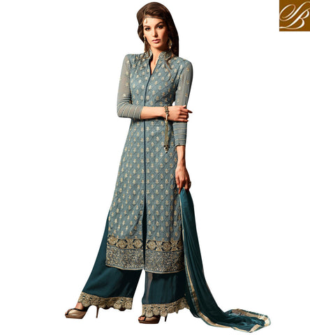 STYLISH BAZAAR SHOP SALWAR SUIT ONLINE WITH CHOICE OF 2 COLOR OPTIONS LATEST INDIAN STRAIGHT CHURIDARS MHN34002A