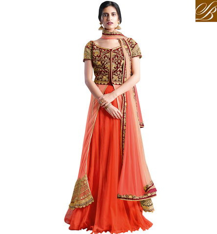 STYLISH BAZAAR SHOP ORANGE NET DESIGNER PARTY WEAR LEHENGA CHOLI HAVING NET AND VELVET CHOLI MHNIM501