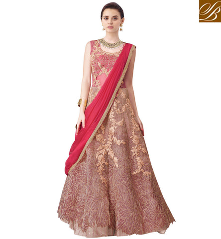 STYLISH BAZAAR BEAUTIFUL PEACH NET CONTAIN ENCHANTING EMBROIDERY PARTY WEAR LEHENGA CHOLI MHNIM503