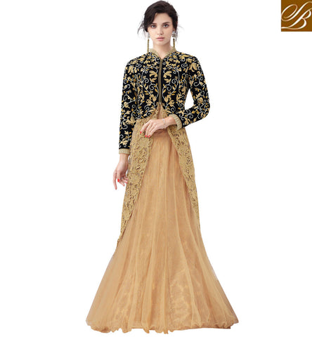 STYLISH BAZAAR WONDERFUL BLACK VELVET AND BEIGE NET WITH EYE CATCHING EMBROIDERY LEHENGA CHOLI MHNIM504