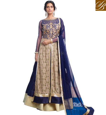 STYLISH BAZAAR ATTRACTIVE BLUE AND BEIGE SILK NET AND VELVET HAVING WELL EMBROIDERY PARTY WEAR LEHENGA CHOLI MHNIM505