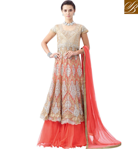 STYLISH BAZAAR INVITING PEACH AND BEIGE NET DESIGNER MODERN STYLE PARTY WEAR LEHENGA CHOLI MHNIM506