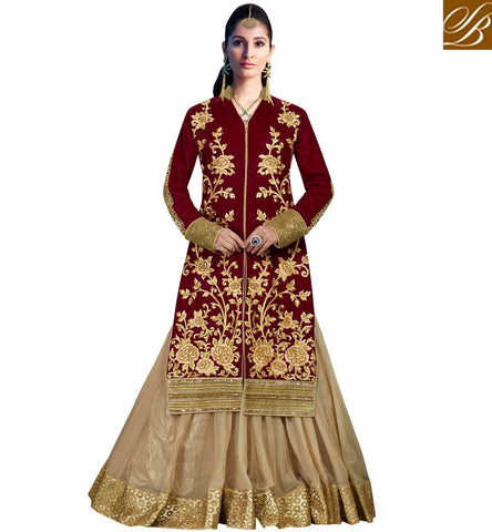 STYLISH BAZAAR SURPRISING MAROON VELVET AND CHEKU NET HAVING PLEASING LOOK PARTY WEAR LEHENGA CHOLI MHNIM507