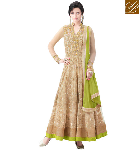 STYLISH BAZAAR ELEGANT BEIGE NET DISPLAYING GORGEOUS EMBROIDERY PARTY WEAR ANARKALI SALWAR KAMEEZ MHNIM508