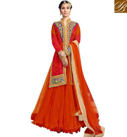 STYLISH BAZAAR AMAZING ORANGE NET DESIGNER WITH STYLISH EMBROIDERY PARTY WEAR LEHENGA CHOLI MHNIM509