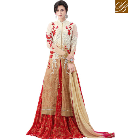 STYLISH BAZAAR MARVELLOUS BEIGE AND RED CHIFFON NET FLORAL WORK DESIGNER PARTY WEAR LEHENGA CHOLI MHNIM510