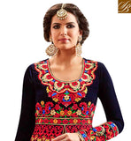 FROM STYLISH BAZAAR ATTRACTIVE NAVY BLUE VELVET HAVING BEAUTIFUL RED EMBROIDERY WITH SLIT CUT ANARKALI SUIT MNHOT3771
