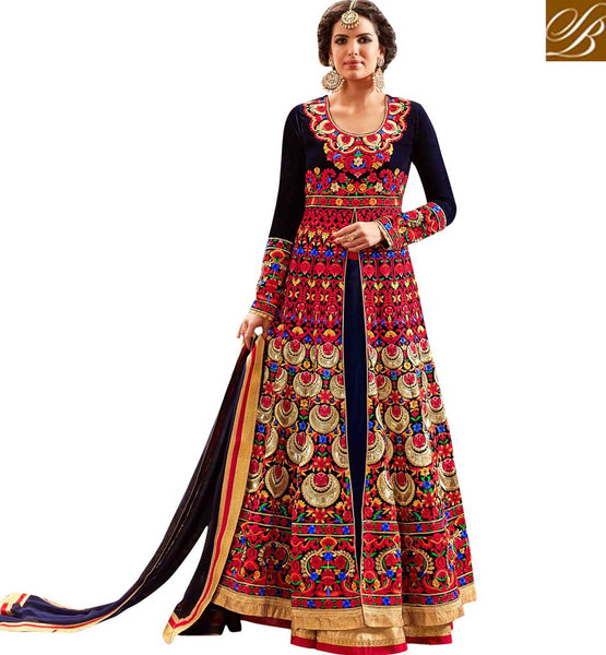 STYLISH BAZAAR ATTRACTIVE NAVY BLUE VELVET HAVING BEAUTIFUL RED EMBROIDERY WITH SLIT CUT ANARKALI SUIT MNHOT3771