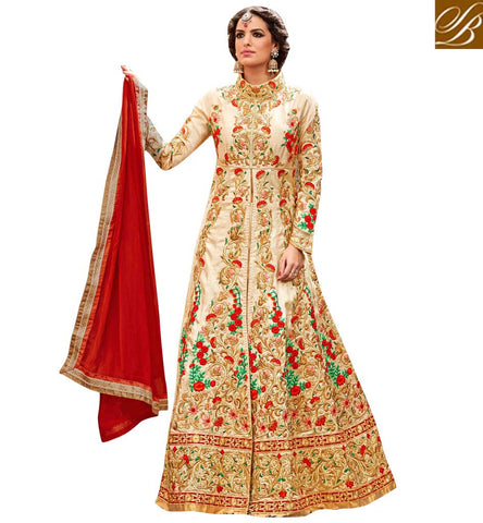 STYLISH BAZAAR STUNNING CREAM SILK HAVING ENCHANTING EMBROIDERY WITH PARTY WEAR SLIT CUT ANARKALI SUIT MNHOT3772