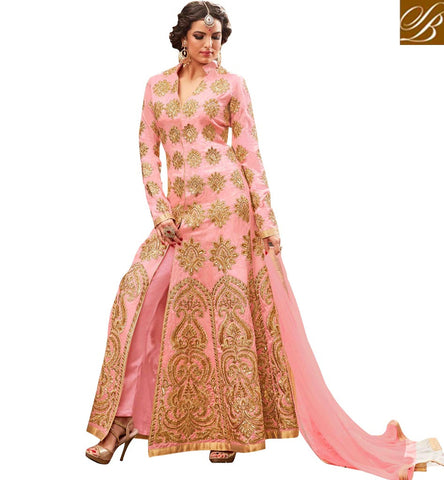 STYLISH BAZAAR DAZZLING PINK SILK DESIGN WITH WONDERFUL GOLD EMBROIDERY PARTY WEAR ANARKALI DRESS MNHOT3773