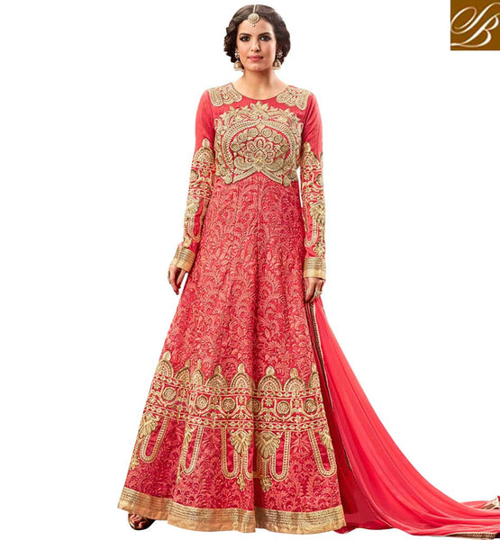 STYLISH BAZAAR SURPRISING PINK SILK HAVING BOUNTIFUL LOOK WITH PERSONIFIED EMBROIDERY PARTY WEAR ANARKALI SUIT MNHOT3774