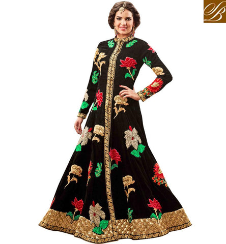 STYLISH BAZAAR BEAUTIFUL BLACK VELVET DESIGNER PARTY WEAR ANARKALI SALWAR SUIT DISPLAYING FLORAL EMBROIDERY MNHOT3775
