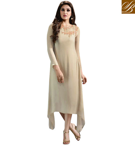 STYLISH BAZAAR GLAMOROUS CREAM GEORGETTE WELL DESIGNED CASUAL WEAR LAVISH LOOK KURTI MNJ33362