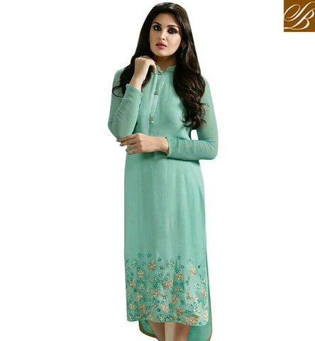 STYLISH BAZAAR STUNNING SEA GREEN GEORGETTE BEAUTIFUL EMBROIDERED CASUAL WEAR KURTI MNJ33364