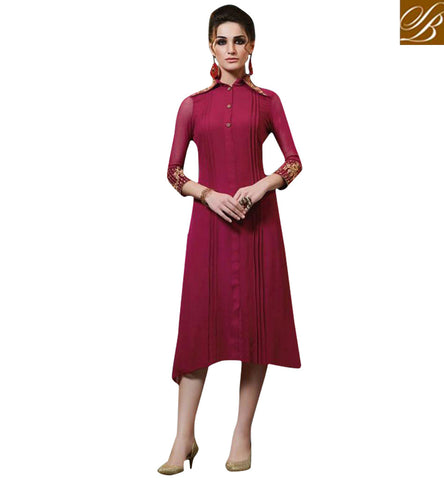 STYLISH BAZAAR WONDERFUL MAROON GEORGETTE HAVING PLEATING AND COLLAR STYLE CASUAL WEAR KURTI MNJ33369