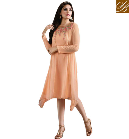 STYLISH BAZAAR ENTICING PEACH GEORGETTE HAVING WELL EMBROIDERY ON NECK CASUAL WEAR KURTI MNJ33370