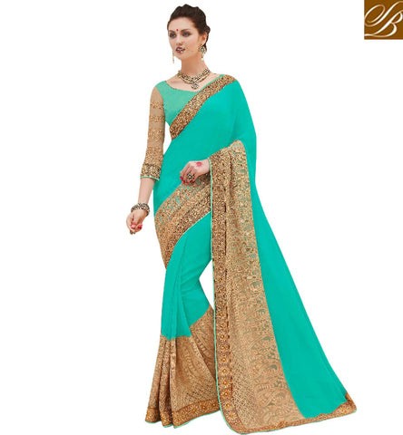 STYLISH BAZAAR ANGELIC GREEN DESIGNER GOLDEN BORDER GEORGETTE SAREE WITH DESIGNER BLOUSE FASHIONABLE WEDDING SARIS ONLINE INDIA SURAT MNJ47906